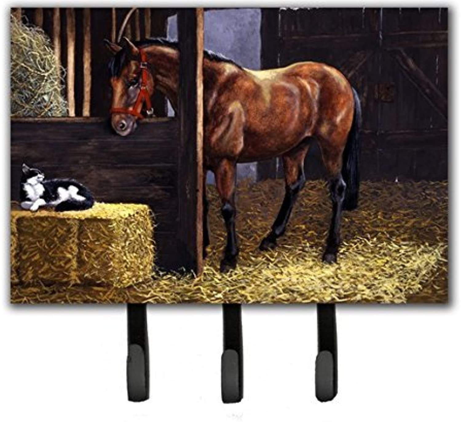 Caroline's Treasures BDBA0295TH68 Horse in Stable with Cat Leash Or Key Holder, Large, Multicolor