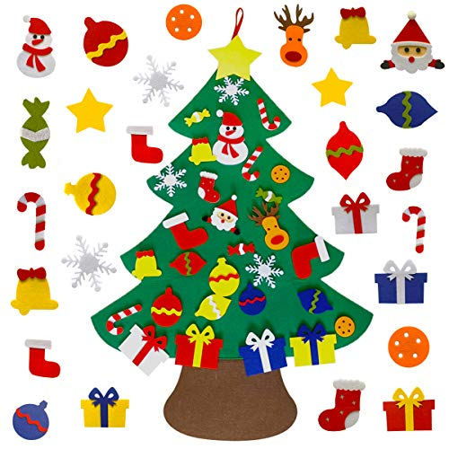 KEXMY Shelly DIY Felt Christmas Tree with 30pcs Ornaments, Xmas Gifts for Kids New Year Handmade Christmas Door Wall Hanging Decorations