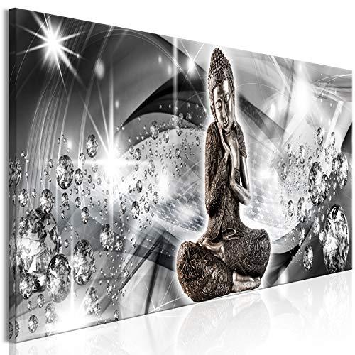 murando Cuadro en Lienzo Buda 135x45 cm 1 Parte Impresión en Material Tejido no Tejido Impresión Artística Imagen Gráfica Decoracion de Pared Feng Shui Ornamento Gris Diamante p-C-0037-b-a
