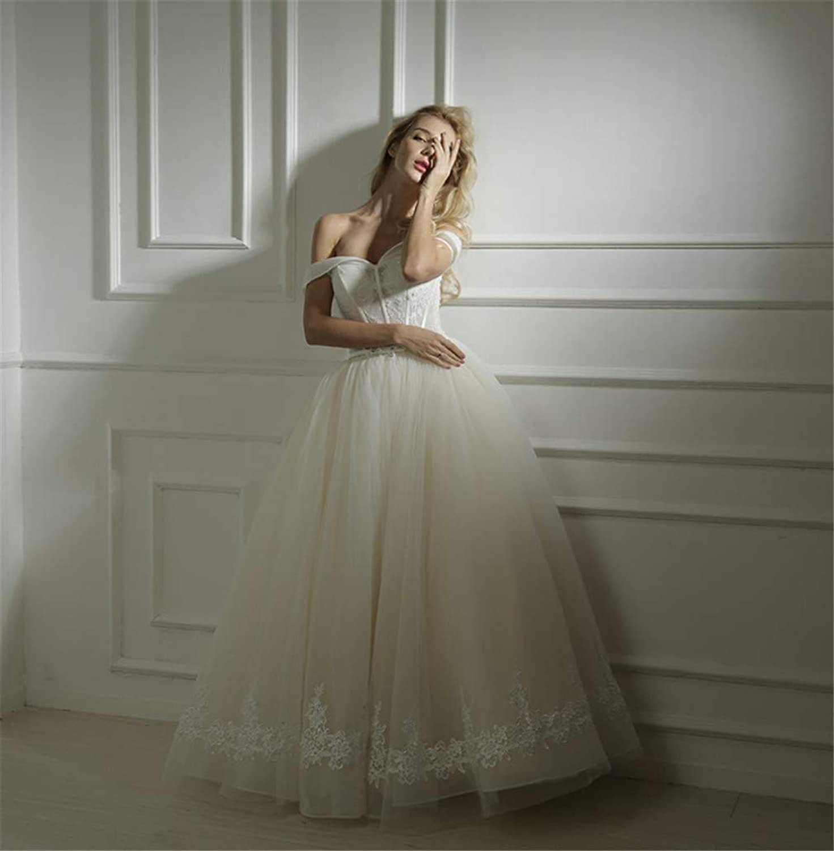 Wedding Dress, Europe and America White high Quality Lace Simple Strapless Strap Sexy Deep VNeck Princess Elegant Trailing Princess Church Dress