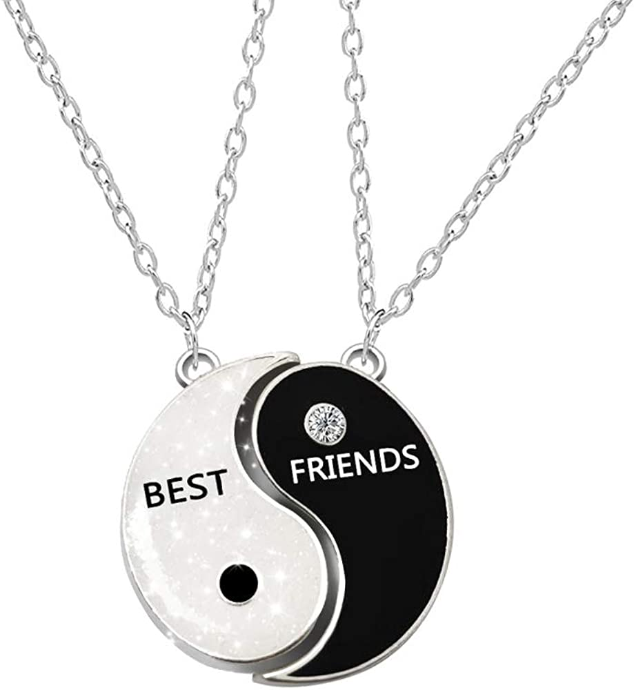 AMOR SPES Family 2Pcs BFF Best Friends Yin Yang Pendant Necklace Black And White Couple Necklate With Magnet Pendant Gift