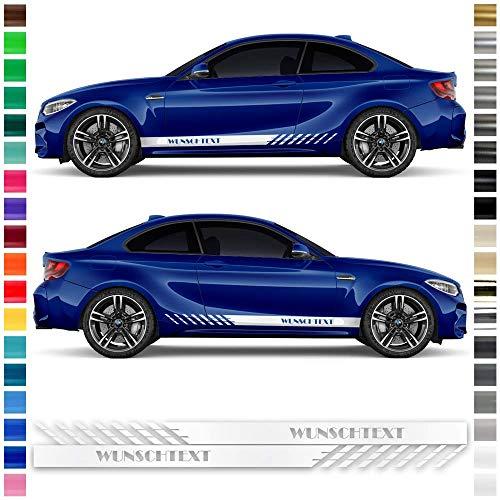 Auto-Dress® Seiten-Streifen Aufkleber Set/Dekor mit Wunschtext in Wunschfarbe und bis 220cm Länge (Farbwunsch)