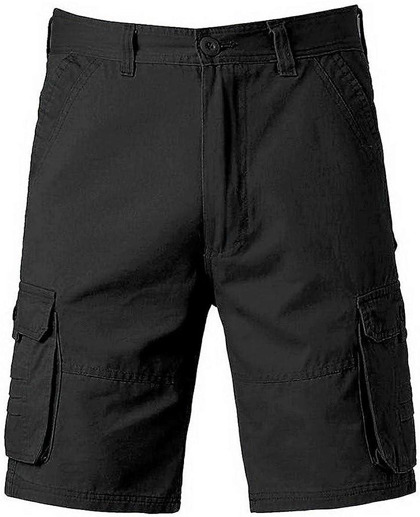 MODOQO Men's Cargo, Work Casual Regular Fit Multi-Pocket Zipper Lightweight Shorts Pants
