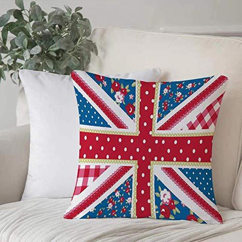 Funda de almohada, funda de cojín Decoración Shabby Chic, linda bandera británica Estilo floral Lunares retro Country Culture Decoración para el hogar Funda de cojín Cuadrado acogedor para sofá Funda