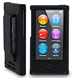 Nakedcellphone Black Hard Shell CASE Cover with Belt Clip Holster for Apple iPod Nano 7 7th 8th GEN Generation