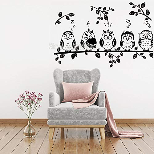 ONETOTOP Süße Eule Wandaufkleber Wohnzimmer Sofa Hintergrundbild Eule sitzt auf Zweig Wandtattoo Moderne Künstlerresidenz Dekoration 64cmx 42cm