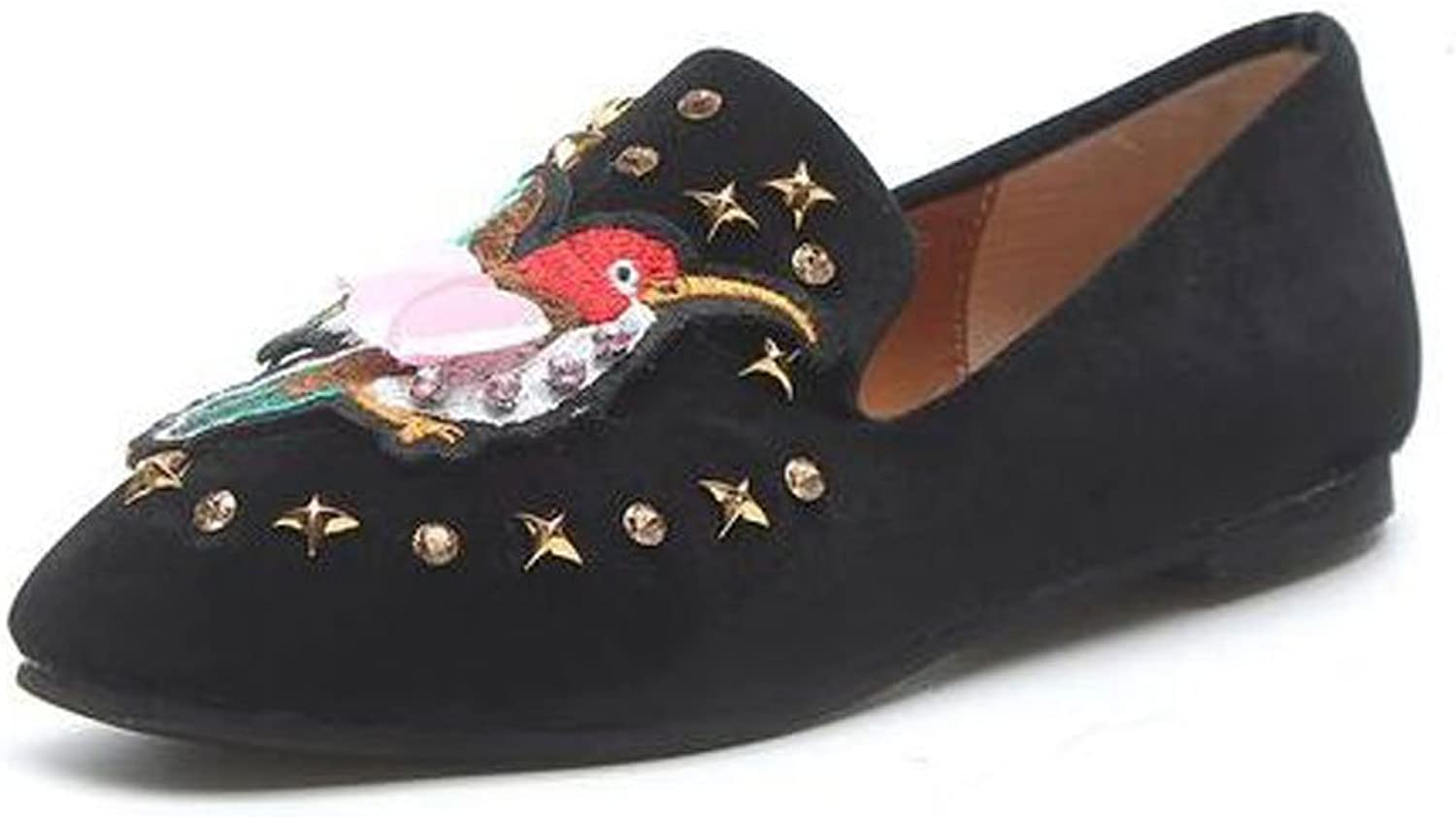 Slduv7 Women Suede Leather Flats Leisure Embroidery Soft Lightweight Ballerinas Comfort Driving shoes