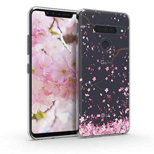 kwmobile Hülle kompatibel mit LG G8s ThinQ - Hülle Silikon transparent Kirschblütenblätter Rosa Dunkelbraun Transparent