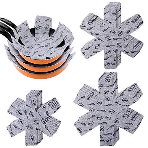 PHOGARY Pfannenschoner - 15er Set Pfannenschutz Stapelschutz, Topfschutz aus Filz für Topf, Pfannen, 3 Größen (38/35/26cm), grau