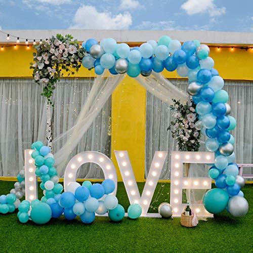 113 Stks Ballon Garland Kit, Ballon Arch 16Ft Lange Roze Wit Goud Ballon Pack voor Bruiloft Verjaardag Party Decoraties Baby Douche Bachelorette Party Deocorations Blauw