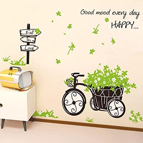 Creativo triciclo de hierba verde Mural pegatinas de pared calcomanías artísticas de vinilo para decoración del hogar Diy dormitorio sala de estar