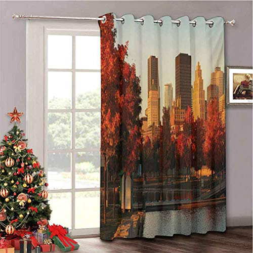Aishare Store City Sliding Door Insulated Curtains, Old Port of Montreal Early in The Morning Scenic Autumn Trees Buildings Canada, Soundproof Room Divider Curtains W52 x L63 Inches