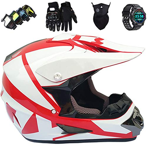 Casco da Moto per Bambini Set con Occhiali Guanti Mascherina Sport Smart Watch, Casco da Motocross per Giovani e Adulti Casco da Moto Integrale per Downhill Dirt Bike MX MTB ATV Scooter