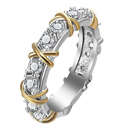 phitakshop Eternity Diamonique CZ 925 Silver & Yellow Gold Filled Wedding Band Ring New (7)