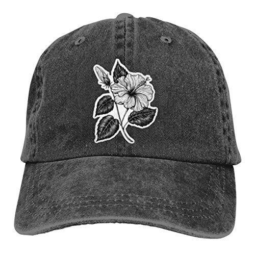 Gorra de béisbol de hibisco dibujada a mano, ajustable, color negro
