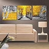 MXmama Lienzo Cuadros Sala de Estar Modular 3 Piezas Amarillo Maderas Pinturas HD Imprime árboles Arte de la Pared del Cartel 60X60Cmx3Pcs sin Marco