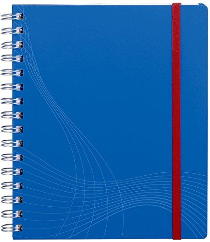 AVERY Zweckform 7033 Notizbuch notizio (A5, Kunststoff-Cover, Doppelspirale, kariert, 90 g/m², 90 Seiten mikroperforiert, Notizblock mit Verschlussband, Registern und Dokumententasche) blau