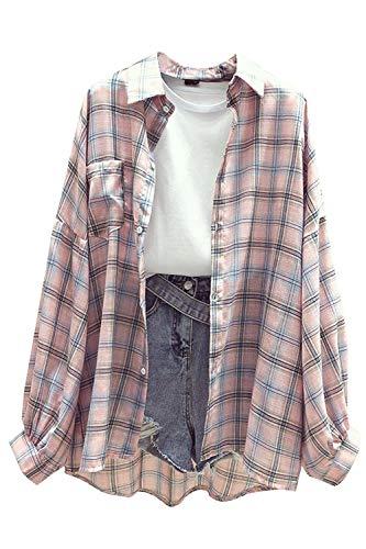 Damen Bluse Kariertes Hemd Langarm Boyfriend Blusenshirt Button down Plaid Shirt Freizeithemd Pink M