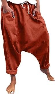 neveraway Women Pure Color Lounge Drawstring Cotton Harem Pants Pants with Pockets
