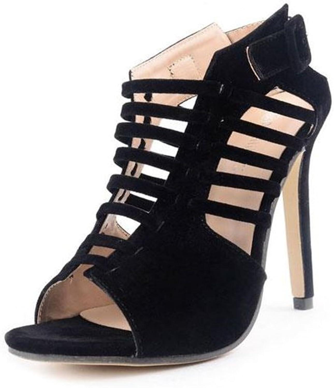 Women Sexy Faux Suede Sandals Peep Toe Stiletto Heels Pumps Cross Strap Cutout shoes