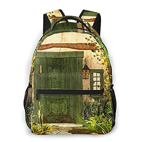 Sac à dos de voyage,porte de chalet rustique envahi par les buissons herbe arbre jardin brique conte de fées campagne,sac à dos...