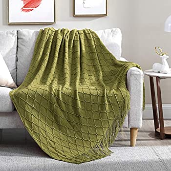 Walensee Throw Blanket for Couch 50 x 60 Olive Green Acrylic Knit Woven Summer Blanket Lightweight Decorative Soft Nap Throw with Tassel for Chair Bed Sofa Travel Picnic Suitable for All Seasons