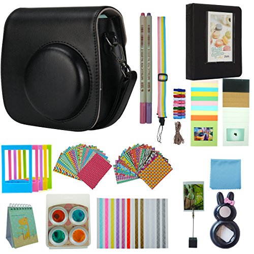 Anter 17 in 1 Instax Mini 9 Accessori per la fotocamera istantanea Fujifilm Instax Mini 8 8+ 9 con custodia/penna / adesivi/cornice a colori/memo clip/panno / album/selfie lente/filtri / cinturino