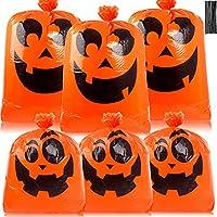 6-Pack DERAYEE Halloween Pumpkin Leaf Lawn Bags