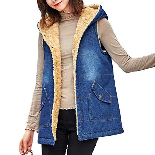 ZHANYI Womens Denim Vest met capuchon Katoen Vest Mouwloos Snap Casual Jassen Winter Warm Bovenkleding met Zakken, Navy Blauw