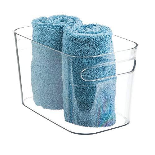 mDesign Contenitore Bagno - Cesta Portaoggetti in Plastica Trasparente - Scatola Organizer Bagno per conservare prodotti, creme, lozioni, asciugamani e accessori