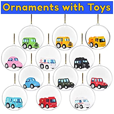 BETTERLINE 20 Clear Fillable Christmas Ball Ornaments - Fill with Toys or Surprises for Decor, Xmas Tree, Birthdays, Parties, Events