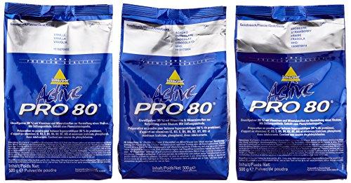 Inkospor Active Proteinshake Pro 80 Beutel 3er Mix Pack (3 x 500 g) Schoko/Vanille/Erdbeere, 1er Pack (1 x 1.5 kg)