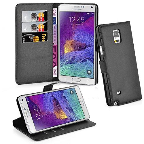 Cadorabo Hülle für Samsung Galaxy Note 4 - Hülle in Phantom SCHWARZ – Handyhülle mit Kartenfach und Standfunktion - Case Cover Schutzhülle Etui Tasche Book Klapp Style