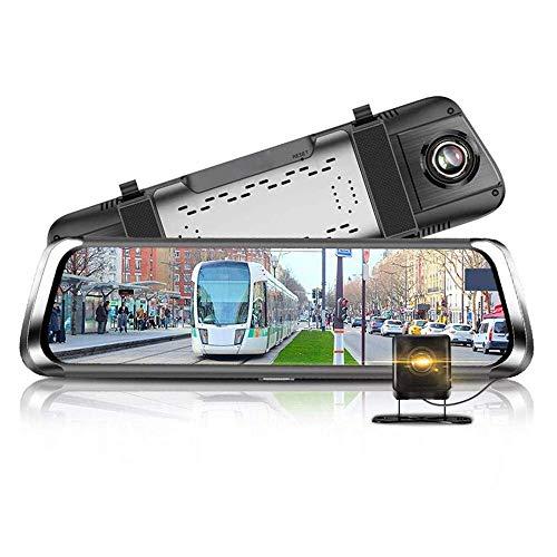 Grabadora de conducción de pantalla completa de alta definición de 10 pulgadas, pantalla táctil 4G, grabadora de espejo retrovisor de medios de transmisión de visión nocturna, con grabación dual delan