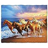 Dawhud Direct Horses on The Beach Super Soft Plush Fleece Throw Blanket