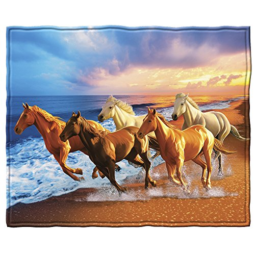 Dawhud Direct Horses on The Beach Super Soft Plush Fleece Throw Blanket