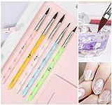 5 piezas de acrílico, diseño de uñas, diseño de uñas, diy uv gel, bolígrafos, pinceles de acrílico, tamaño 4 6 8 10 12 (10pcs, Plata)
