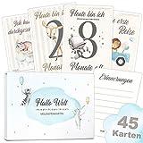 45 Baby Meilenstein Karten schöne Geschenkidee zur Geburt, Schwangerschaft, Taufe oder Babyparty Milestone Cards | Meilensteinkarten Geschenkset inkl. Geschenkbox für Junge