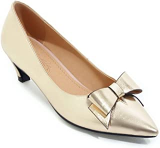 BalaMasa Womens Charms Bows Solid Urethane Pumps Shoes APL10735