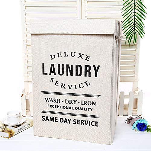Kuidada Large Linen Foldable Laundry Hamper with Lid Dirty Clothes Basket with Handles for Bathroom Bedroom College Ivory
