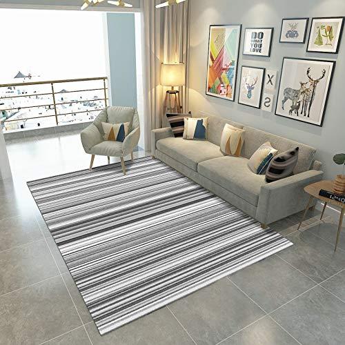 Alfombra grande para sala de estar, abstracción, alfombra de mostaza, tradicional, sala de estar, dormitorio, estudio, exterior, comedor, baño, gris, rayas blancas, 200 x 300 cm