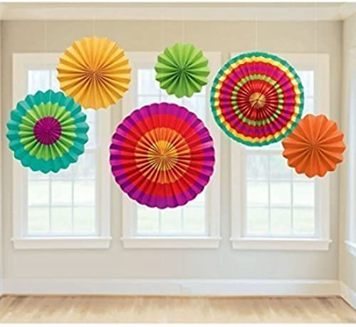 Fashionclubs Farbeful Fiesta Hanging Paper Fans Decorations for Party, Event, Home Decoration-6 Packs by Fashionclub