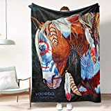 Indian War Horse Art Blanket Throw Flannel Very Soft Lightweight Bedspread Home Decor Aesthetic All Season for Bed Couch, Living Room,Beach