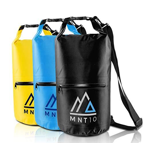 MNT10 Dry Bag Packsack wasserdicht mit Tragegurt I Dry Bags Waterproof in 10l oder 20l I Wasserfeste Tasche für Reisen, Outdoor und Camping I Seesack robust und widerstandsfähig (Schwarz, 20 L)