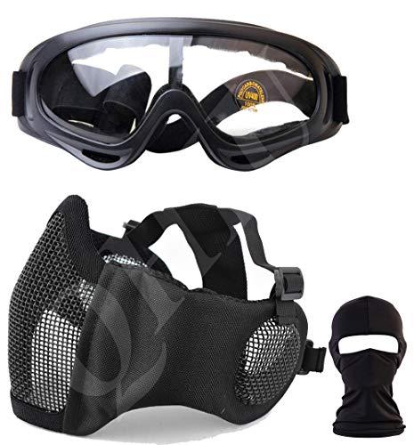 QHIU Táctico Máscara de Acero de Media Cara con protección para los oídos máscara de Malla Transpirable Gafas Protectoras para Airsoft Paintball CS con Correa elástica Ajustable