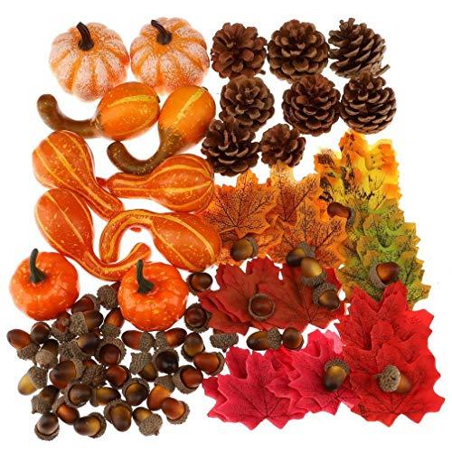 Gresorth 100 Stück Herbst Fälschung Ahornblatt, 8 Stück Natur Tannenzapfen, 50 Stück Künstlich Eichel, 10 Stück Kürbiss Dekoration