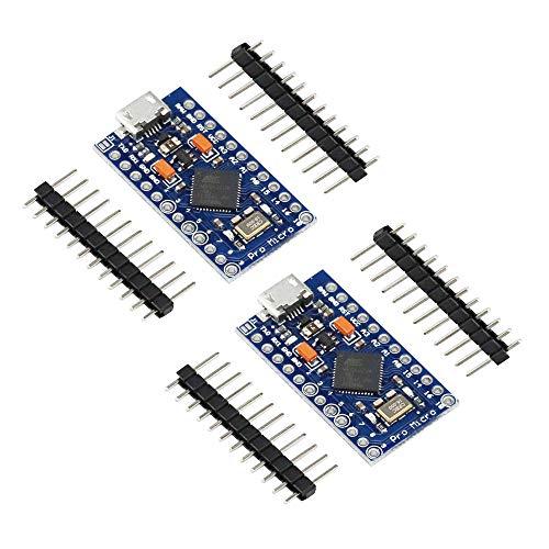 KKHMF 2個 Leonardo Pro Micro ATmega32U4 5V/16MHz ブートローダ マイクロ USB Pro Mini 開発ボード Arduinoに対応