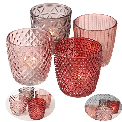 LS-LebenStil 4x Glas Teelichthalter Rosa Rose 7cm Windlicht-Halter Kerzenständer