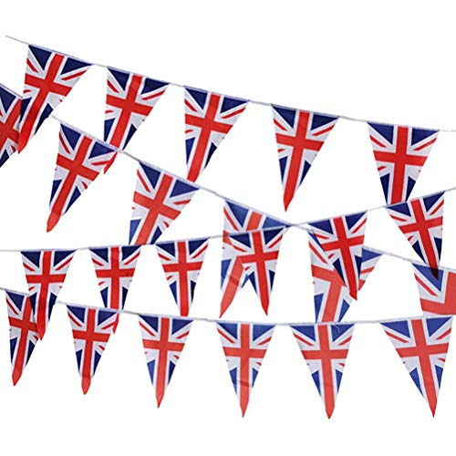 Maufy 26ft A String of 25 UK United Kingdom Union Jack Themed Flags Bunting Banner British National Royal Decoration