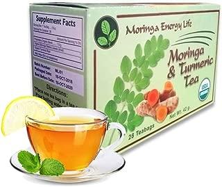 MORINGA TURMERIC TEA - USDA Organic - Nature´s Best Combo for Cognitive Function, Nutrients & Flexibility! with this Moringa Tea